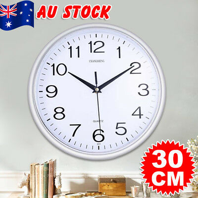 30cm Silent Round Wall Mountable Quartz Analogue Wall Clock Home Kitchen Decor