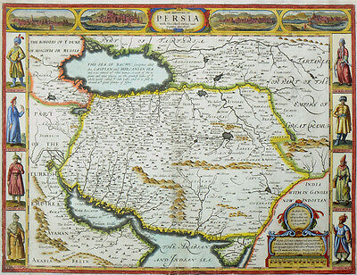 Persien The Kingdom Of Persia Originale Altkolorierte Kupferkarte Speed 1626
