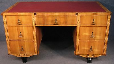 1930s Continental Maple And Burr Elm Leather Top 7 Drawer Pedestal Desk