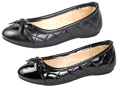 Ladies Girls Quilted Ballet Pumps Black Faux Leather Work School Shoes Size