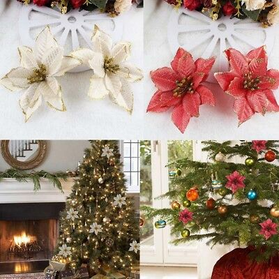 10/50 Glitter Christmas Flowers Wedding Party Xmas Tree Ornaments Hanging Decor