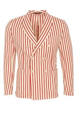 Eleventy Blazer Men's 54 SALE !! Cream Slim Fit Striped Cotton