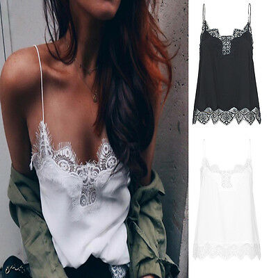 Women Sexy Lace Bralette Casual Satin Strap Vest Tank Tops Camisole Cami T-Shirt