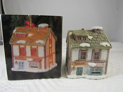 "Dickens Village Bell Lites Hand-Painted Bakery Porcelain Ornament 3"" Tall"