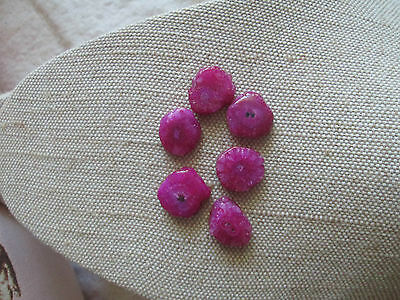 ~ Six Natural Mini Pink Solar Quartz Cabochon Gemstones ~ Vibrant Colour ~