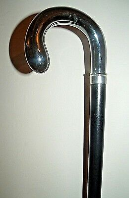 Silver Chrome Handle Walking Stick Classic Cane Solid Black Wood Stick 38 inches