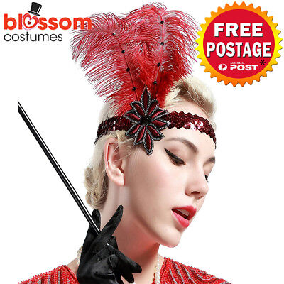 K610 Red 20s Gatsby Headpiece Flapper 1920s Costume Headband Headdress Feather