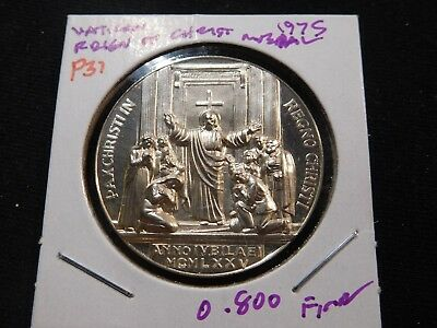 P31 Italy Vatican City Pope Paul VI 1975 Silver Medal Reign of Christ 0.800 Fine