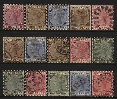 Barbados Collection 15 QV Values Mostly Used