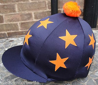 Riding Hat Silk Skull cap Cover NAVY * DOUBLE ORANGE STARS With OR w/o Pompom