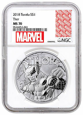 2018 Tuvalu Thor 1 oz Silver Marvel Series $1 Coin NGC MS70 Exclusive SKU51997
