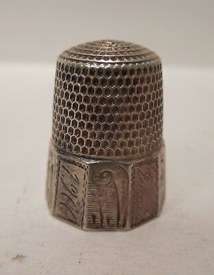 Vintage-1900-Simons Brothers-Flower Panel Design-Sterling Silver-Thimble-Size 10