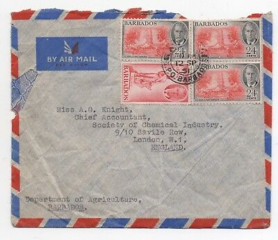1951 BARBADOS KGVI Air Mail Cover to LONDON GB Dept Agriculture