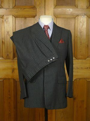 Vintage Tommy Nutter Savile Row Bespoke Grey Pin-Stripe 3-Piece Suit 38 Short