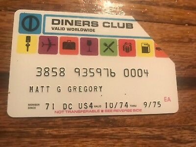 Diners Club Expired Credit Card Matt Gregory Producer 1975