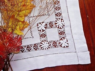 Antique Tablecloth Centerpiece Hand-Embroidery and Handmade Drawn Lace