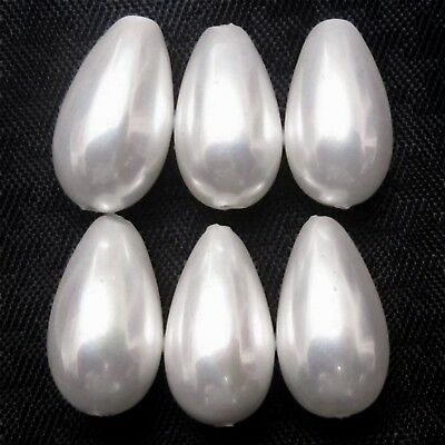 Wholesale Lot of 13x7mm Drop Shape Shell Pearl Gemstone Loose Beads Full Drilled