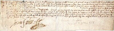 1568, Du Four, member of the court of King Charles IX, signed document