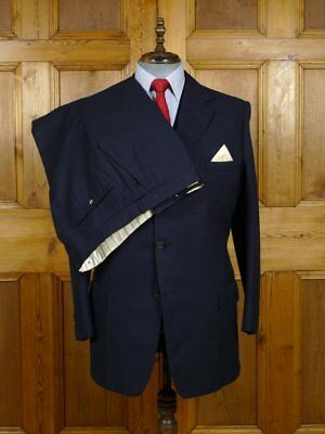 vintage henry poole savile row bespoke NAVY BLUE HERRINGBONE STRIPE 3-PIECE 41 L