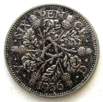 Great Britain Uk Coins, Sixpence 1936, George V, Silver 0.500