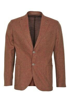 Eleventy Blazer Men's 56 US Size 46 Brown Slim Fit Checkered Cotton