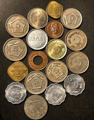 Old Pakistan Coin Lot - 1948-PRESENT - 18 ISLAMIC Uncommon Coins - Lot #613