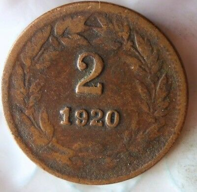1920 HONDURAS 2 CENTAVOS - RARE - Crude Strike - Great Coin - Lot #613