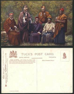 TIBET China Old Tuck's Oilette Postcard 6 TIBETAN LAMAS with Prayer Wheels