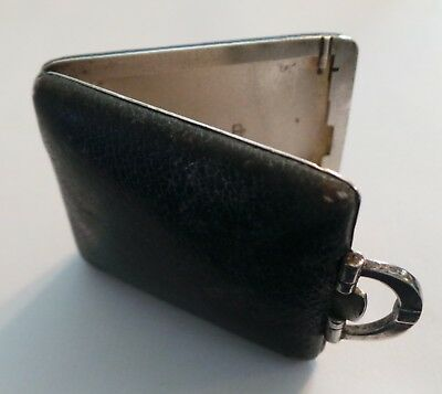 Vintage Sterling Silver Stamp Case With Leather Cover - Hallmarked - 22 Grams