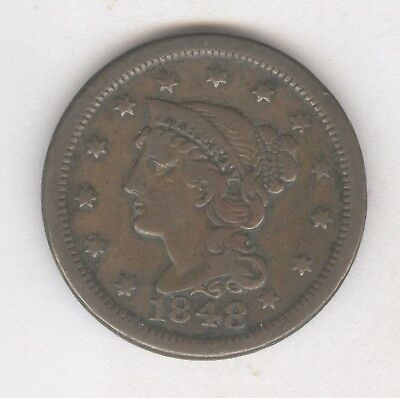 1848 Braided Hair Large Cent + Nice Circ + No Reserve!