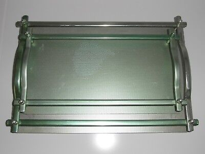 Pair of Vintage  Deco / Revival Anodised Aluminium Galley Cocktail Drinks Trays