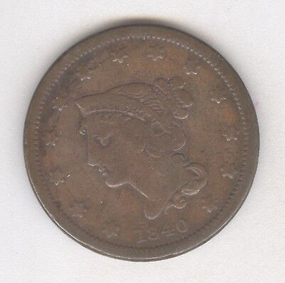 1840 Braided Hair Large Cent + Nice Circ + No Reserve!