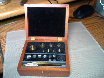 Vintage F. Hopken Jeweler Apothecary Scale Weight Set, 50g to 1 mg, Brass, w Box