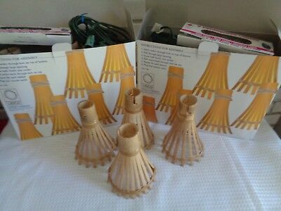 Vtg 14 Bamboo Tiki Outdoor 6 String Lights Patio Party Rv Mcm 2 Sets
