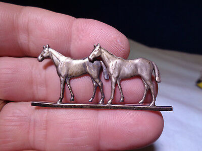 Vintage Sterling Silver **TWIN HORSE FIGURINE** Pin  Brooch