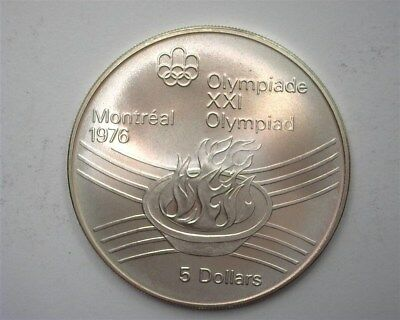 Canada 1976 Silver 5 Dollars - Olympic Flame  Near Perfect Uncirculated