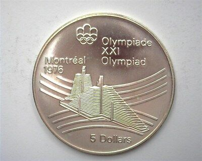 Canada 1976 Silver 5 Dollars - Olympics Series - Village  Perfect Uncirculated