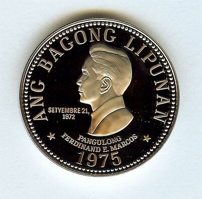 Philippines 1975-Fm 5 Piso  Perfect Proof Deep Cameo