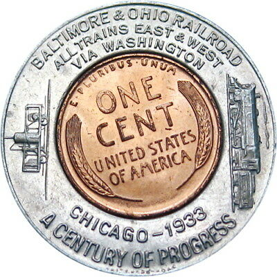 1933 Encased Indian Head Cent Chicago Illinois Baltimore Ohio Railroad