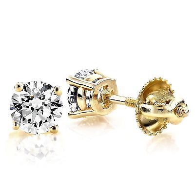 2.1ct Round Bridal Stud Solitaire Earrings Gift Real 14k Yellow Gold Screw Back