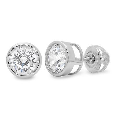 2.1ct Stud Solitaire Earrings Gift Round Bridal Real 14k White Gold Screw Back
