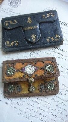 2 SWEET ANTIQUE FRENCH TIMEWORN PURSES c1900 ATTIC FIND VELVET & LEATHER