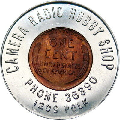 1949 Encased Indian Head Cent Chicago Illinois Camera Radio Hobby Shop
