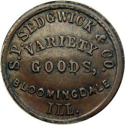 Bloomingdale Illinois Civil War Token Sedgwick & Co No Compromise With Traitors