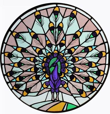 Rare Art Deco Painted Peacock English Circular Stained Glass Window
