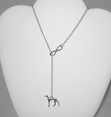 Infinity Silver Plated Greyhound Charm Necklace Whippet IG