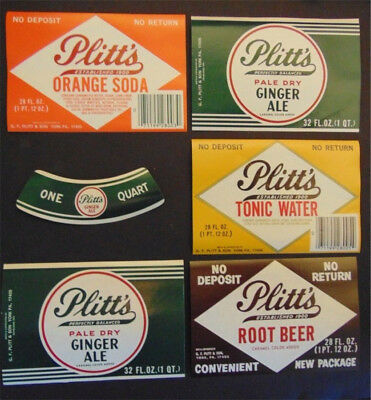 18 Plitts Bottling Company of York PA Soda Labels - 3 of Ea Style New Old Stock
