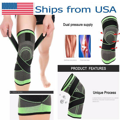 3D Knee Brace Support Breathable for Running Jogging Sports Sleeve Pad Size LP