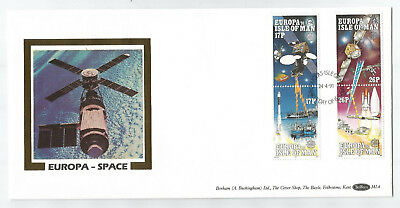 Isle Of Man 1991 Europa Space Set On Limited Edition Benham Silk First Day Cover