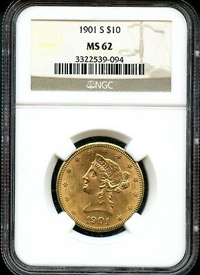 Amazing 1901-S NGC MS 62 United States $10 Liberty Head 90% Gold Coin FE213